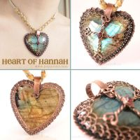 Celtic Cross Labradorite Heart Pendant by popnicute