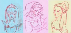 Disney girls sketch by DeedNoxious
