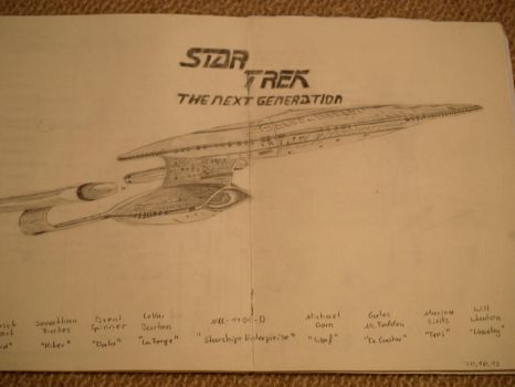 The Nex Generation - Enterprise D Drawing by LakitaCuvier