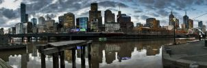 Facing to Flinders Station by dzign-art
