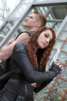 Black Widow and Hawkeye by Arorea