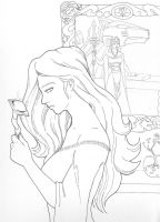 Allura pondering the cost of royality (B/W) by Cheetoy