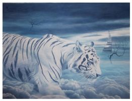 journey trough the sky (  monocrhome series tiger by lituhayu