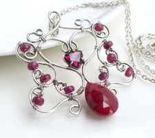 Dark pink ruby necklace in sterling silver by CreativityJewellery