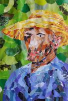 Van Gogh in Straw Hat Collage by bicyclegasoline