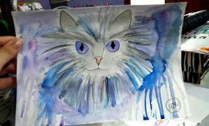 Cat Watercolor by hidingmymess