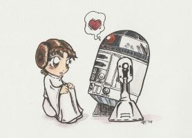 R2 luffs Leia by AmberStoneArt