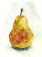 Watercolour pear by Medhi