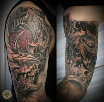 8 biomech skull horror arm tat by 2Face-Tattoo