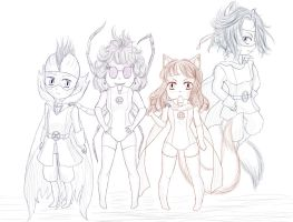 Fantastic team - Sketch [chibi] by Inexpressif