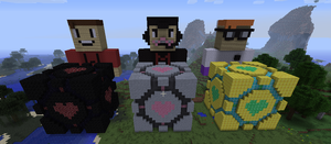 Drunk Minecraft Trio and the Companion Cubes by AMASTA10