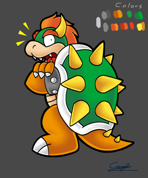Paper Bowser surprised (with colors) by MileenaKoopa