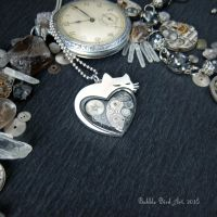 Noir collection - Heart-shaped steampunk cat by IkushIkush