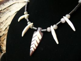 Bone and Onyx Necklace by dittin03