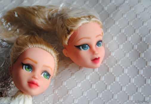 Practising faceup on old dolls by Lo-chan07