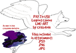 PAY TO USE Winged Canine Line-art by Crazdude