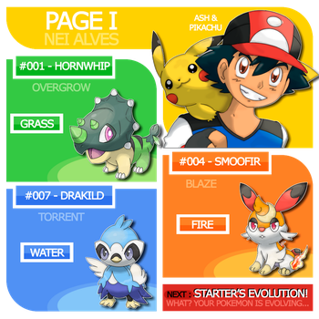 Page I : Ash, Pikachu and Carific Starter's by Nei7alves