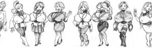 12 busty women sketch by krineth