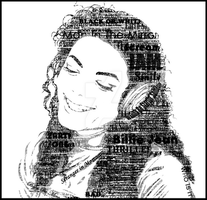 Michael Jackson typography portrait B or W by SE7EN-OF-N9NE