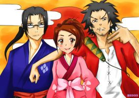 Mugen, Jin and Fuu by BleachedSouL999