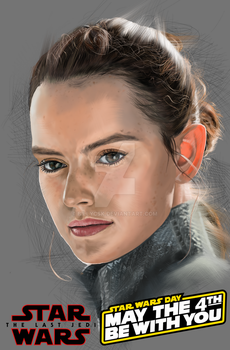 STAR WARS REY FAN ART MAY THE 4TH BE WIRH YOU by billycsk