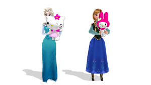 Elsa and Anna with Hello Kitty and My Melody by MarcosLucky96