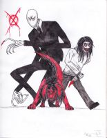 Jeff the Killer and Smile Dog and Slenderman by Danjobro
