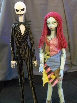 FOR SALE: Jack and Sally BJD pair by mourningwake-press