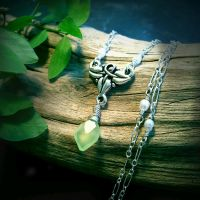 Elven Ivy - Green Leaf Chalcedony, Tiny Pearls~ by QuintessentialArts