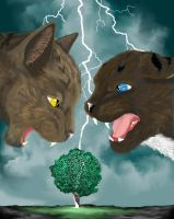 And The Thunder Rolled: Brambleclaw and Hawkfrost by AmxBri