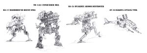 Mecha concepts by flyingdebris