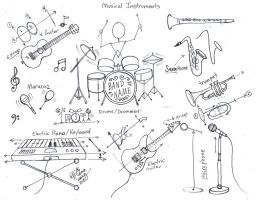 Draw Musical Instruments part 1 by Diana-Huang