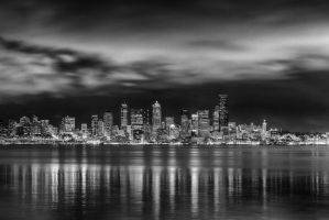Seattle Skyline BW by FellowPhotographer