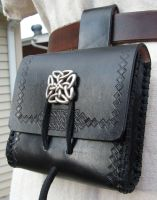 Black Bag with Custom Stamping by EarthlyLeatherDesign