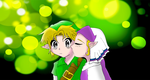 Link and zelda kiss by rodneywoof
