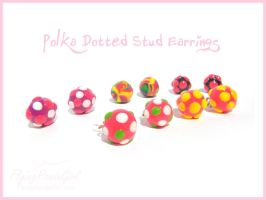 Polka Dotted Stud Earrings by FlyingPandaGirl