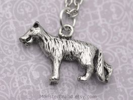 Silver Gray Wolf Necklace by MonsterBrandCrafts