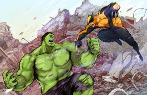 Hulk vs Logan by beanclam