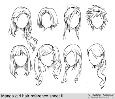 manga girl hair reference sheet II - 20130113 by RinFaye