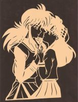 Kurama and Kagome Papercut by usagisailormoon20