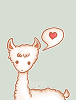Albino llama loves you by Kamanessa