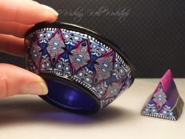 Polymer Clay covered glass bowl by missfinearts