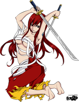 I will not fall! Erza Scarlet by PaperCactus