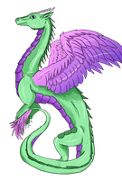 Green and Pink Dragon by IcyPheonix