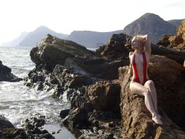 Pixie at the black sand beach by martinrobinson