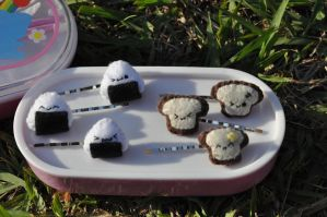 Onigiri and Toast Hairpins by Love-Who
