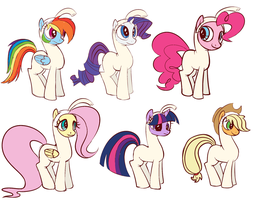 Mane Six in Pictonian Costumes by Petalierre