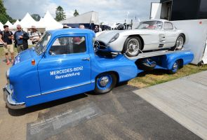 Mercedes Benz Blue Miracle and 300SL at Goodwood by chrisahamer