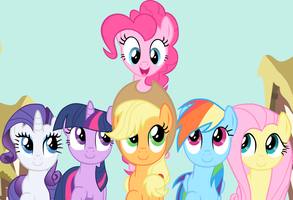 Smile Song Mane 6 Vector /w Background by exe2001