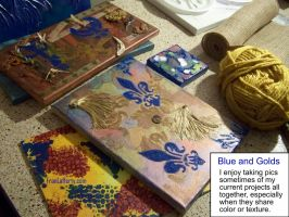 Works in Progress from June 2016: Blue and Golds by mirroreyes1